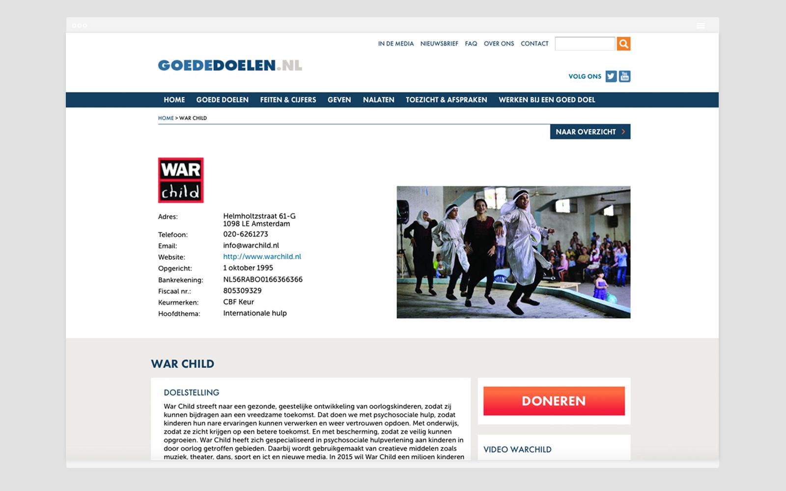 Screenshot Homepage Goede Doelen Nederland
