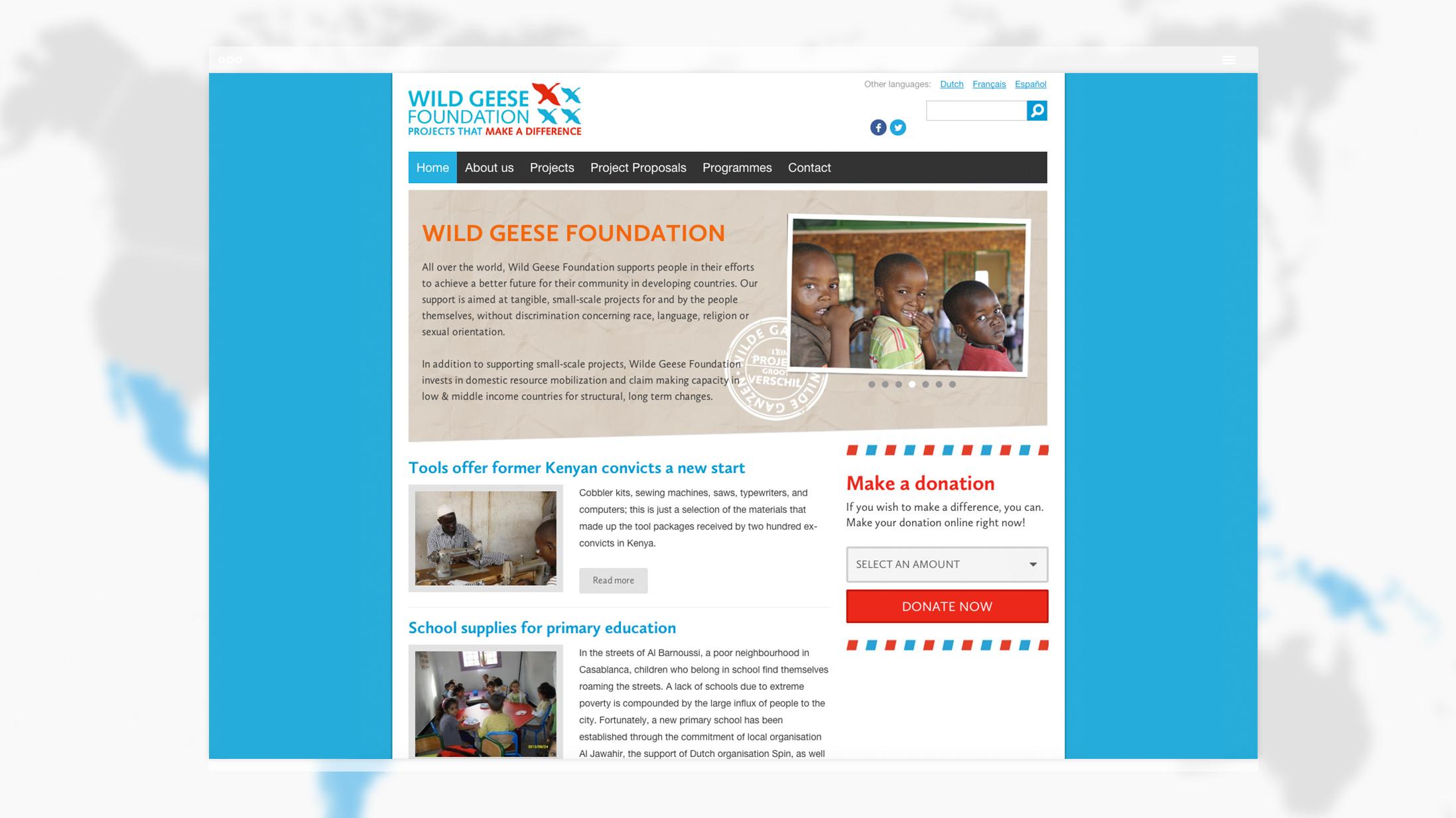 Vormgeving Homepage Wild Geese Foundation