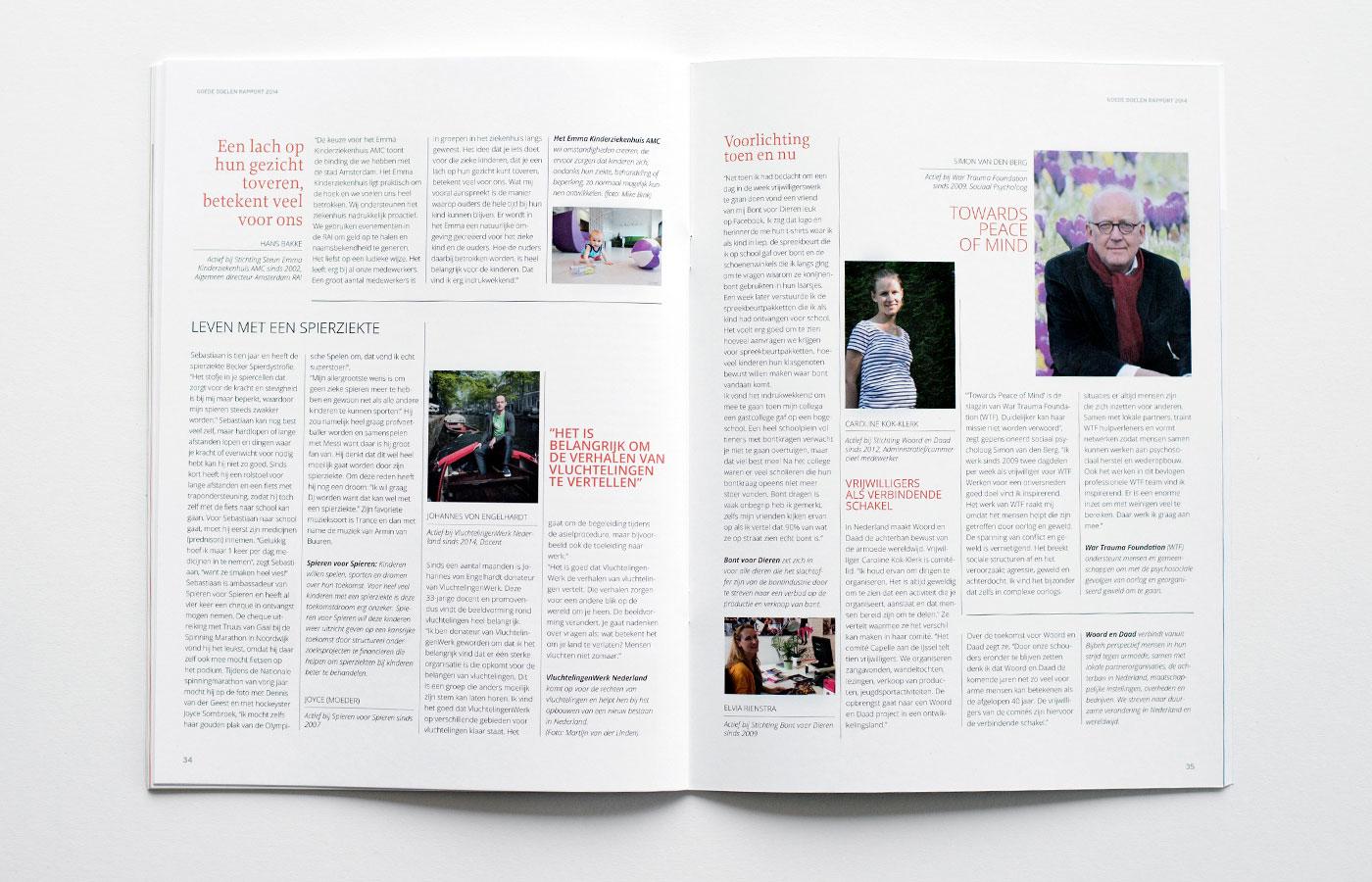 Spread binnenkant rapport goede doelen Nederland