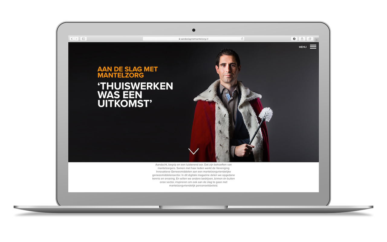 Screenshot van homepage van Victus Participations